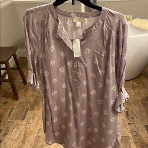 Loft blouse size medium. Purple 3/4 sleeve